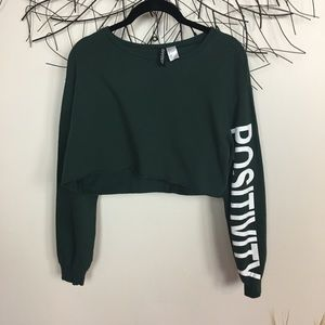 Green cropped sweater. Positivity. H&M small